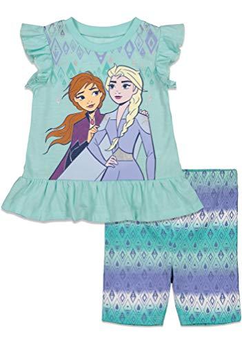 Disney Frozen Elsa Anna Toddler Girls T-Shirt and Bike Shorts Set Light Blue 3T