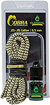 Clenzoil Field & Range 25 Cal 6.5 Creedmoor Cobra Bore Cleaner | Gun Barrel Cleaning Kit for 6.5 Creedmoor | Brass Brush Embedded in Cotton Snake | Includes CLP Gun Bore Cleaner Solution