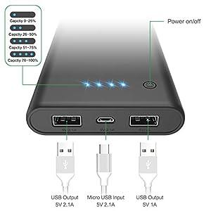 Feob Powerbank - Neuester Intelligent Steuerung-IC Externer Akku 24800mAh Ultra-Hohe Kapazität Power Bank Power Pack Schnellladung Ladegerät Akku Pack für iPhone, iPad, Samsung Galaxy und mehr