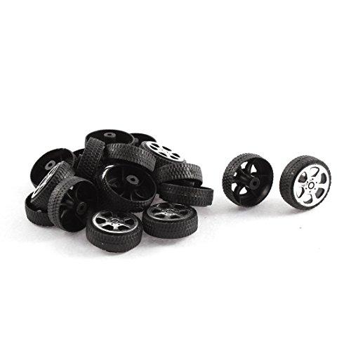 sourcingmap Plastique Rouleau 2mm Diamètre Arbre Voiture Truck Modèle Toys Roue 20mmx6mm 20 pièces
