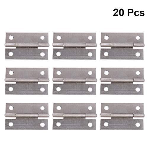 DOITOOL Bisagras de puerta de servicio pesado de 20 piezas bisagras de muebles de acero inoxidable con tornillos para muebles de puerta de gabinete de cocina (2 pulgadas)