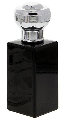 Flakon für Parfüm 100 ml, Glas Flacon schwarz, Kosmetex kubischer Pump-Zerstäuber, Schwarz-Silber
