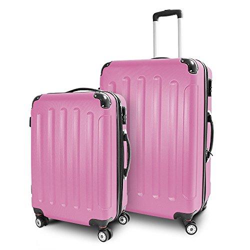 BERWIN Kofferset L + XL 2-teilig Reisekoffer Trolley Hartschalenkoffer ABS Teleskopgriff Modell Stripes (Rosa)