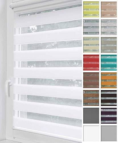 Home-Vision® Duo Rollo Klemmfix, Doppelrollo ohne Bohren mit Klämmträgern, Rollos für Fenster und Türen (Weiß, B130cm x H150cm)