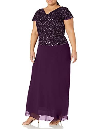 J Kara Women's Plus Size Long Beaded Cowl Neck Flutter Sleeve Gown Dress, Plum/Shaded, 16W (Apparel)