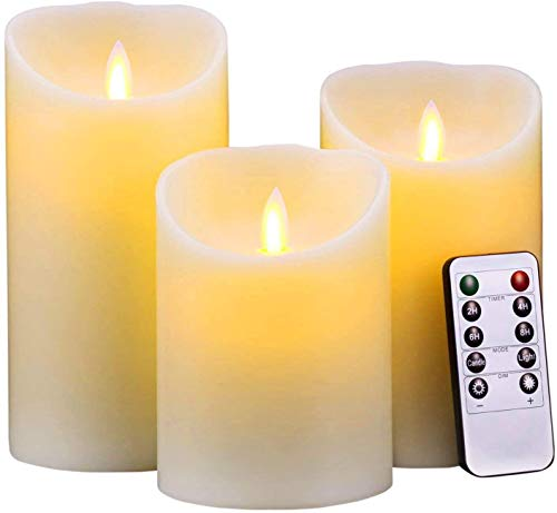 AMZSELLER LED Candles LED Candle Gift Sets Flameless Candles Pack Battery Operated Pillar Real Wax Electric with Remote Control Jar Candles (Color : Ivory Candle Set)
