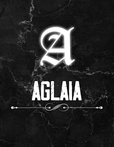 Aglaia: Perfect Personalized Lined Notebook & Journal birthday gift idea with name for Aglaia with Monogram Initial Capital Letter Aglaia and Handmade ... Marble and White Light Neon Design (8.5x11)