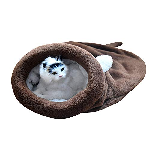 BLEVET Saco de Dormir para Mascotas Snuggle Saco de Manta Manta para Gatito Cachorro Pequeños MZ042 (M, Coffee)