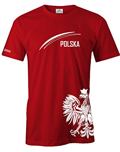 Jayess WM 2018 - Polen - Polska Adler - Fan Shirt - Herren - T-Shirt in Rot by Gr. XL