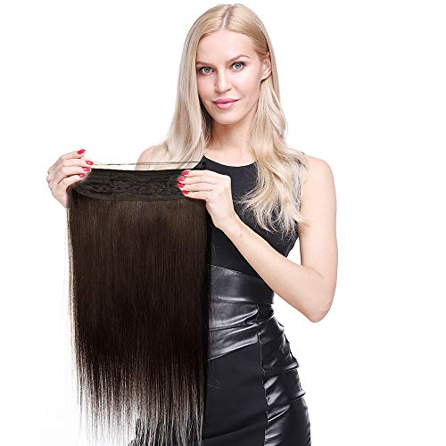 """Extension Fil Invisible Cheveux Naturel Epais DOUBLE FIL Transparent a Enfiler Rajout Cheveux Humain Remy Sans Clips (#1B Noir naturel, 22""""/55cm-120g)"""