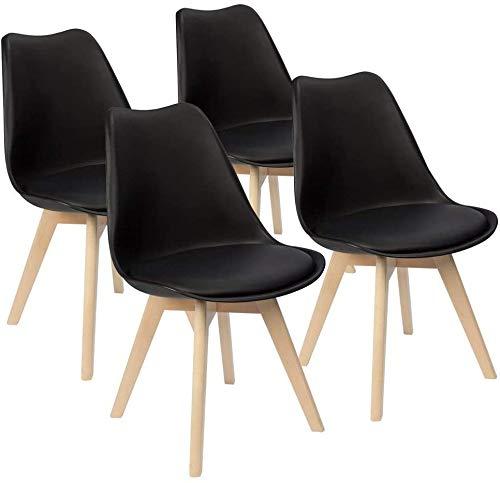 Un conjunto de cuatro silla de sala de oficina silla de tulipán de la vendimia con las piernas de roble macizo y asiento de cuero,Black