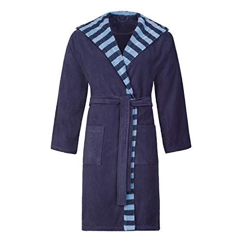 ESPRIT Albornoz de rayas para hombre, 100% algodón azul marino M