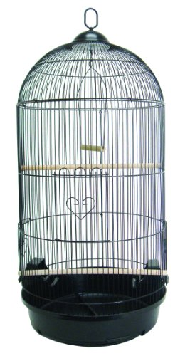 YML A1594 Bar Spacing Round Bird Cage, Black, Large