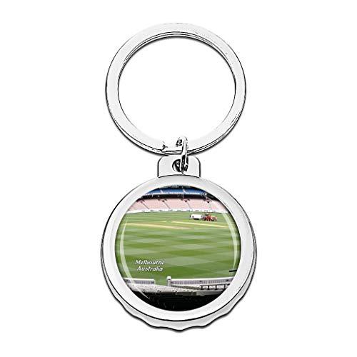 Hqiyaols Keychain Australien Melbourne Cricket Ground Cap Flaschenöffner Schlüsselbund Creative Kristall Rostfreier Stahl Schlüsselbund Reisen Andenken