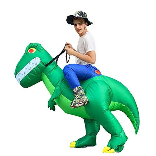 QUUY opblaasbaar kostuum grappig paardrijden dinosauruspak Halloween Parodie rekwisieten Cosplay Fantasy kostuum voor Audlts en kinderen Erwachsene Modelle: 150-190cm groen