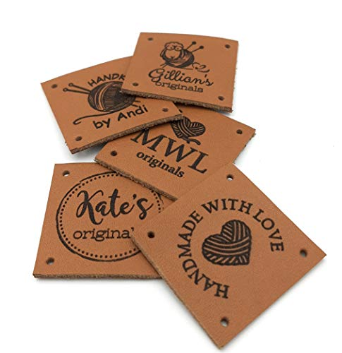 labels for cloths Set of 100 personalized PVC foldable leather tags tags for knitting customised tags labels for handmade size 20x60mm.