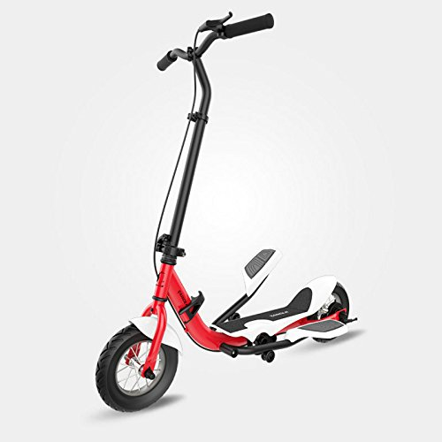 TARCLE Pedal Scooter, 10 Inch Air Wheel Fold Scooter, Pedaling Stepper Scooter, Fitness Scooter (red)