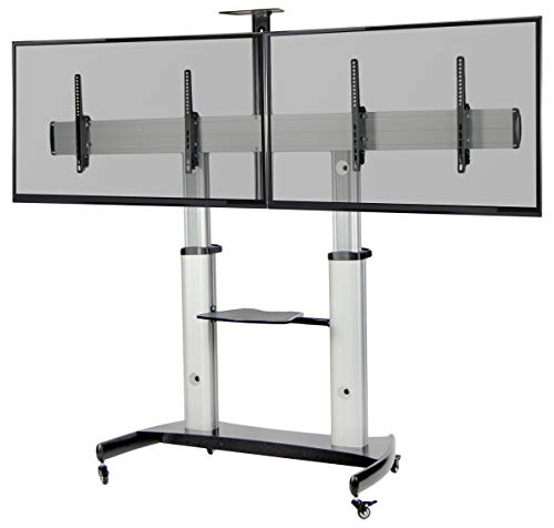 VIVO Ultra Heavy Duty TV Stand for 37 to 60 inch Flat Screens | Mobile, Adjustable, Rolling Dual TV Cart Mount with Wheels (STAND-TV12H)