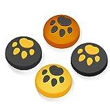 【Switch/Switch Lite 対応】アナログスティックカバー 保護カバー (4個セット) 猫 肉球 アシストキャップ 親指グリップキャップ ジョイスティックカバー(イエロー/ブラック)…