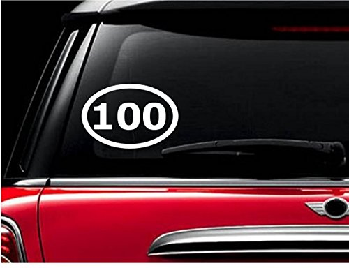 StickerLoaf Brand 100 MILE OVAL Century Decal Bicycle Cyclist Decals Sticker Cycling Cycle Bike Road Trail MTB Mountain Racing Race century metric Touring trek specialized giant fuji cannondale
