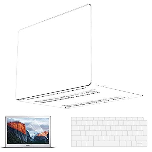Macbook Air 13 Zoll Hülle 2020 2021 2019 2018 Release M1 A2337 A2179 A1932, MacBook Air 2020 Case Clear Plastic Hard Shell Case & Keyboard Cover & Screen Protector für MacBook Air 13 Zoll Schalen klar