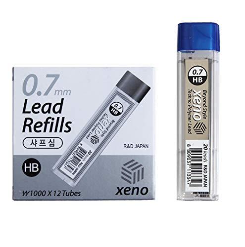 Xeno Beyond Style - Matita meccanica Sharp + ricariche HB (0,3/0,5/0,7/0,9/1,3 mm) (cavo 0,7 mm (12 tubi))