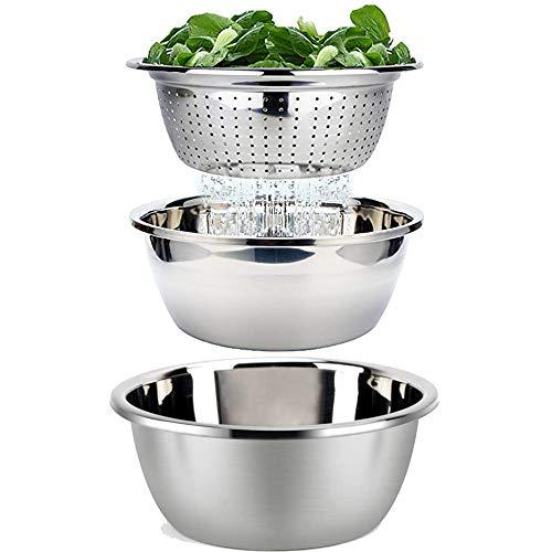 Rührschüssel Set Servierschüssel Salatschüssel Stapelbar Salat Schüssel mit Sieb Set 3-Teilig Rührschüsseln Edelstahl Kochen Backen Lebensmittelzubereitung Bpa Frei Spülmaschinenfest