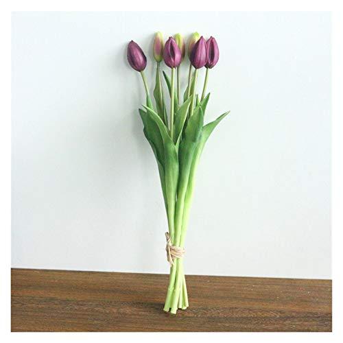 JZYLOVE JINZHIYANG Flone künstliche tulpen Blume blumenstrauß gefälschte Blumen Simulation Blume Mini Tulip blumenstrauß Hause Hochzeitsfeier büro dekor floral (Color : Deep Purple)