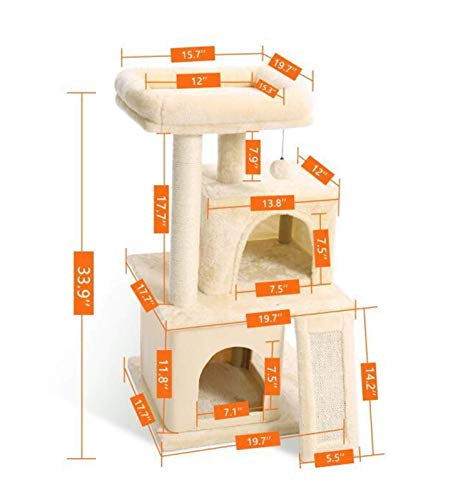 Cat Rasging Post, Cat Perse, Cat Tree Tower Tower Activity Center, Gato Juguete Cat Tree Cat Tree Tree Tower Tower Actividad Árbol Scratcher Play House Kitty Town Muebles Pey Play House (Color: AMT001