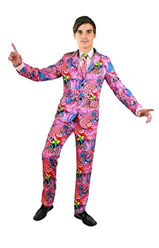 shoperama Psychedelic Disco Party Herren Anzug mit Krawatte Sakko Jackett Hose Karneval JGA, Größe:52