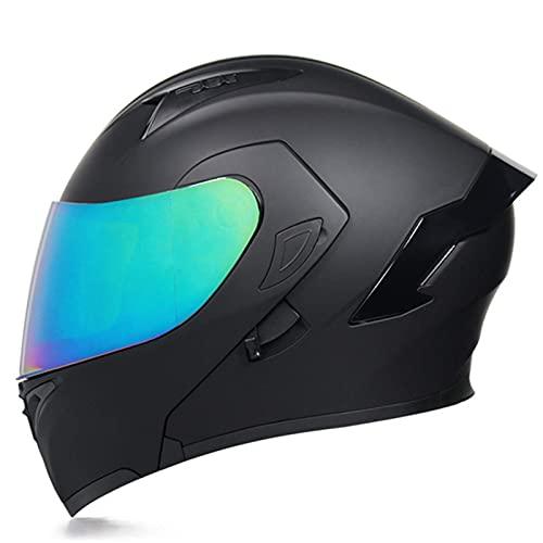 FFYN Casco Integral de Motocicleta, Casco Modular abatible, Casco de protección Integrado para Carreras de Motocross, para Hombres y Mujeres Adultos con Doble Visera Tipo abatible, apro