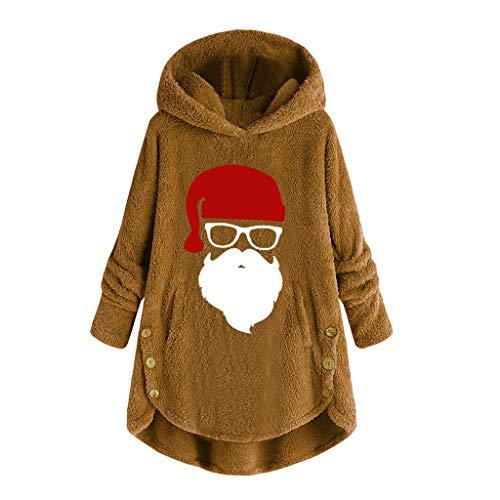 Posional Abrigo Largo con Capucha Estampado de Santa Claus de Gran tamaño...