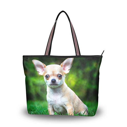 Purse Shopping Chihuahua Dog Puppy Summer Garden Shoulder Bags for Women Girls Ladies Student Light Weight Strap Handbags Tote Bag