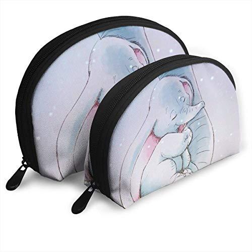 Beau Sac de Maquillage d'éléphant Sacs de Voyage Petit Sac de Coquille Portable Pochette d'embrayage de Toilette 2pcs