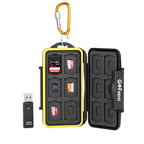 GoFriend® Memory Card Draagtas Houder Professionele Waterdichte Compact Flash Travel Protector Opberghoes voor SD SDHC SDXC met Karabijnhaak & Kaartlezer, 24 Slot Card Case
