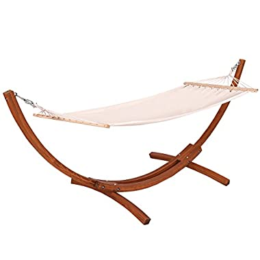 Giantex Wooden Curved Arc Wide Hammock Swing and Stand Set,white (142 x50 x51 )