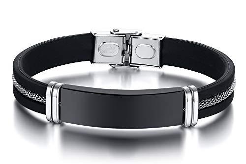 Vnox Braccialetto Personalizzato per Uomo con Cinturino in Gomma Siliconica in Acciaio Inossidabile con Incisione Personalizzata,19.5cm 21.5cm 22.5cm
