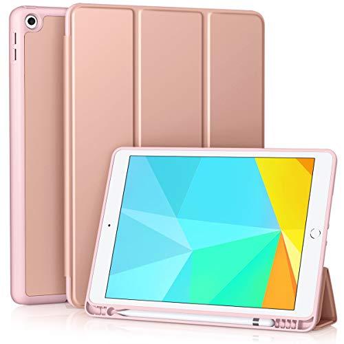 Vobafe Funda Compatible con Nuevo iPad 8ª Generación 2020  iPad 7ª Generación 2019, Plegable Soporte Protectora TPU Cubierta con Portalápiz para iPad 10.2 , Auto-Sueño Estela Oro Rosa
