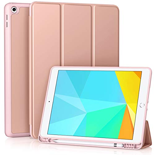 Vobafe Case Compatible with iPad 10.2 Inch (8th Generation 2020/7th Generation 2019), Trifold Stand Cover Shockproof Protective Case Cover with Pencil Holder for iPad 10.2' Auto Wake/Sleep Rose Gold