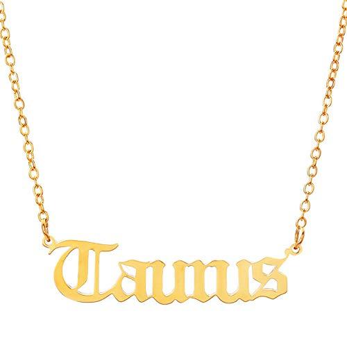 PicZhiwenture Halskette Anhänger Schlüssel beinkette Kette Brief Halskette Jungfrau Skorpion Schütze Steinbock Fische Widder Stier Zwillinge Altes Englisch -Gold_Taurus