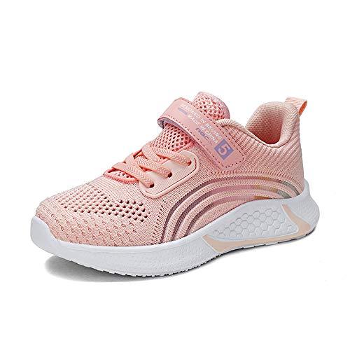 GUFANSI Sneaker Mädchen 36 Pink Turnschuhe Klettverschluss Atmungsaktiv Ultraleicht Hallenschuhe Indoor