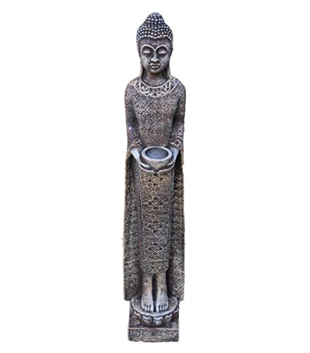 gartendekoparadies.de Massive Steinfigur schmaler Mönch Buddha aus Steinguss frostfest (Mehrfarbig)