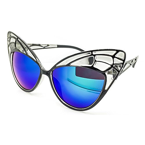 KISS Gafas de sol CAT EYE mod. BUTTERFLY - moda mujer EXTRAORDINARIA vintage rockabilly - NEGRO/Océano