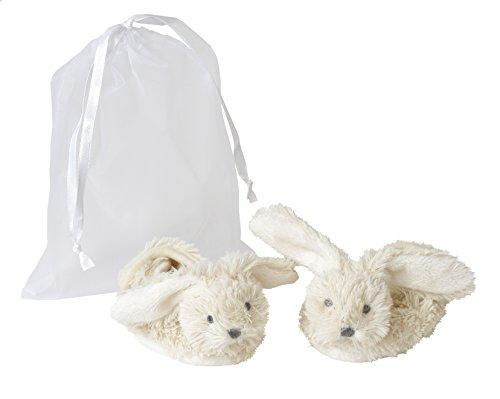 Baby Schuhe Hase - Geschenk Hausschuhe Häschen mit Klettverschluss im Organzabeutel (Weiß)