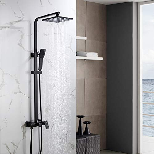 Auralum Schwarz Duschset mit Übergroßer Quadratische Top-Spray, Verstellbare Duschstange und Duschkopf, Duschsysteme aus Edelstahl