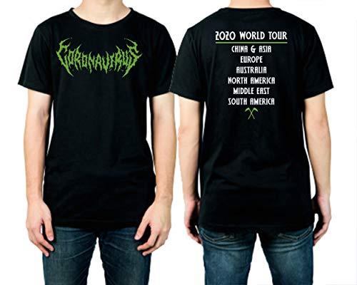 Heavy Metal Coronavirus Rock Band T-Shirt Adults Funny Corona Virus Joke T Shirt (L)