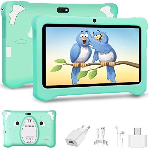 Tablet Bambini 7 Pollici Android 10.0 con Wifi Offerte,Tablet per bambini 3GB + 32GB/128GB Tablet PC con   Netflix   Disney +   OTG - Google Play e Gioco Educativo, Certificato da Google GMS (Verde)