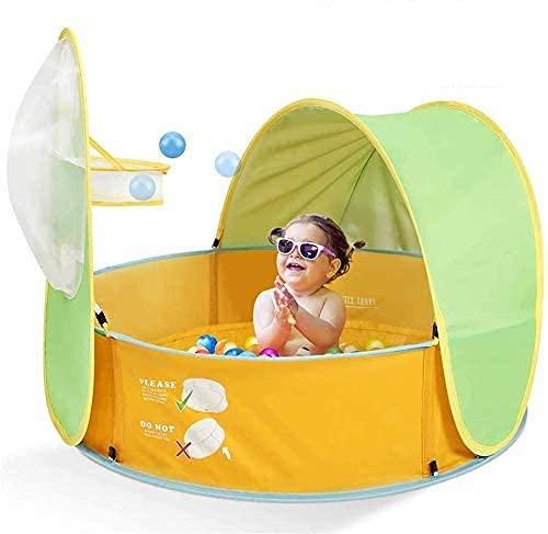 SHUMEISHOUT Planschbecken für Kinder, 3-in-1, Pop-Up-Planschbecken mit UV-Schutz, Sonnenschutz, Basketballkorb, 102 x 96 x 78 cm
