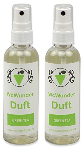 WcWunder WC Pure Toilettenduft, Toilettenparfüm, Geruchsblocker PET-Flasche (Green Tea, 2 x 100ml)