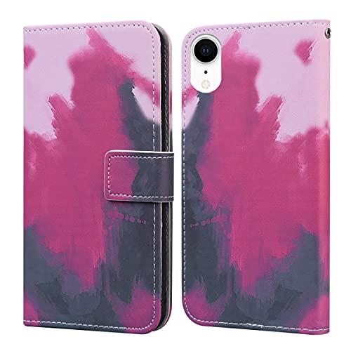 Annuo iPhone XR(6.1 pulgadas), funda Annuo acuarela pintura suave funda tipo cartera, magnética creativa, a prueba de golpes, función atril, ranuras para tarjetas, color baya